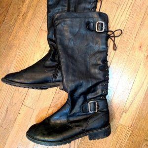 Knee high moto boots